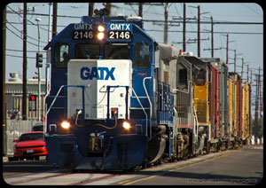 GMTX 2146 leading the Marlboro switcher north on Olive Street at Vermont.