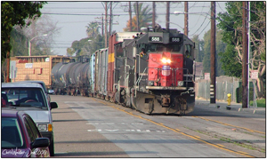 UP 588 with a large Marlboro switcher making the transition from Santa Ana Street to Olive Street