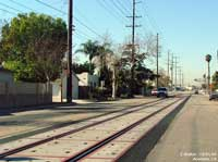 Completed track, ties and panels at Santa Ana Street and Indiana Street.