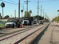 Completed track, ties and panels at Santa Ana Street and Ohio Street