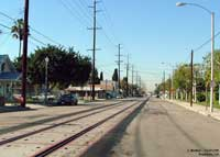 Completed track, ties and panels at Santa Ana Street and Resh Street.