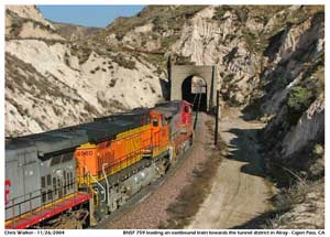 BNSF # 759 heading into the tunnel.