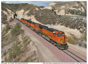 BNSF 5367 heading through the Alray tunnel district