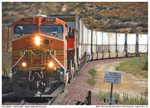 Another image of the BNSF 7652 approaching the underpass for the 15 Freeway.