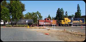 BNSF 2593 shoving against the caboose on this Saturday Extra job at Valencia.
