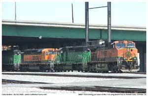 BNSF 1033 getting ready to shove back under the 710 freeway
