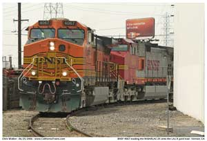 * BNSF 4067 brings a M-BARLAC off the UP San Pedro Sub and onto the LAJ A yard lead