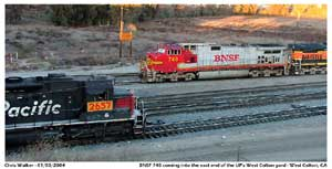 BNSF power is moved around the balloon track on the east end of the yard passing UP 2657