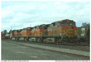 BNSF engines sit on the east end of the yard awaiting departure with an M-WCLBAR