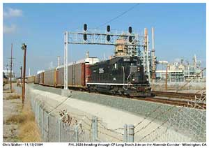 PHL 2026 bringing a autorack train through CP Long Beach Jct. enroute to one of the automobile yards in the area.